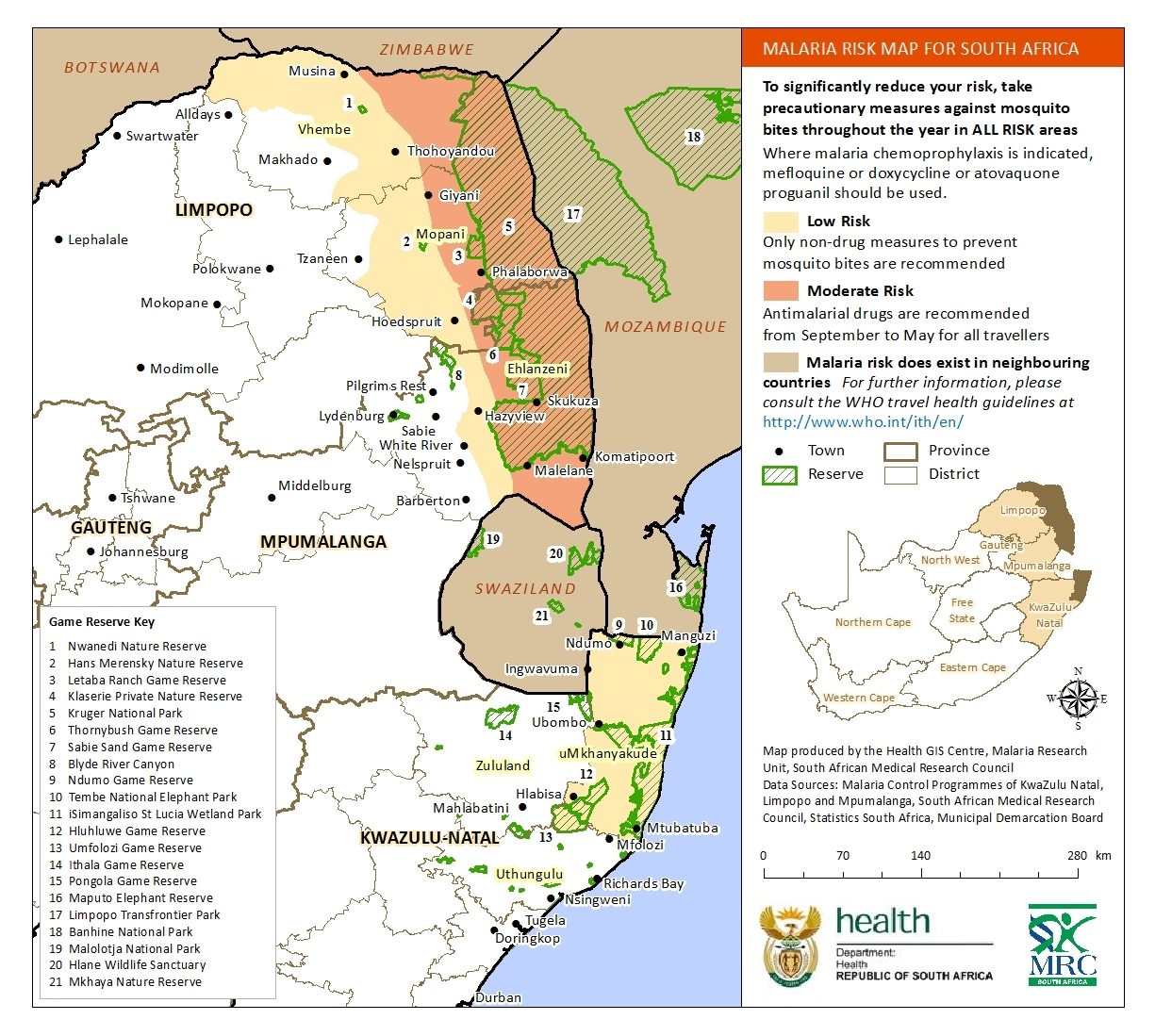 south africa malaria risk 2013